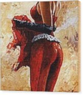 Lady In Red 26 Wood Print