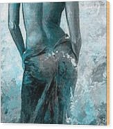 Lady In Red #27 Digital Colored Version Blue Aqua Wood Print