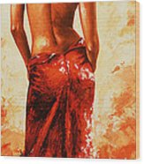 Lady In Red 27re Large  Wood Print