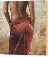 Lady In Red 27 Soft Color Wood Print by Emerico Imre Toth
