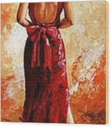Lady In Red  39 Wood Print