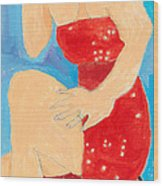 Lady In Red Wood Print by Don Larison