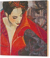 Lady In Red Wood Print by Jennifer Croom