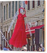 Lady In Red Watching Filming Of Today Show In Old Montreal-qc Wood Print