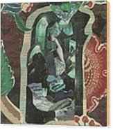 Lady In The Green Mirror Wood Print