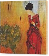 Lady In The Red Dress Wood Print