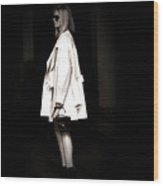 Lady In The White Coat Wood Print