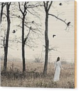 Lady In White In Autumn Landscape Wood Print
