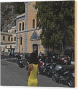 Lady In Yellow By The Church Of San Francesco Maiori Italy Wood Print