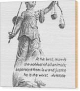 Lady Justice Statue Pencil Portrait Wood Print
