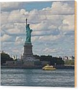Lady Liberty And Water Taxi Wood Print