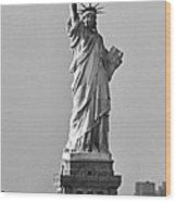 Lady Liberty Black And White Wood Print