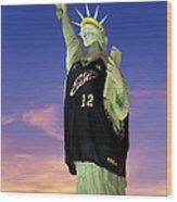 Lady Liberty Dressed Up For The Nba All Star Game Wood Print by Susan Candelario
