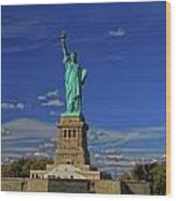 Lady Liberty In New York City Wood Print