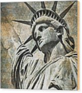 Lady Liberty Vintage Wood Print by Delphimages Photo Creations