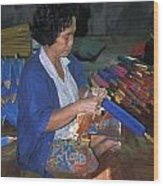 Lady Makes Umbrellas At A Factory Near Chaing Mai Wood Print