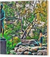 Lady On The Rocks Wood Print