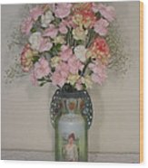 Lady On Vase With Pink Flowers Wood Print