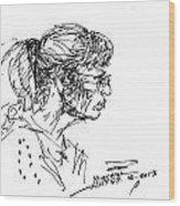 Lady Profile Wood Print