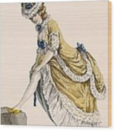 Lady Pulling Up Her Stocking, Engraved Wood Print
