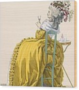 Lady Reclines On Chair Drinking Wood Print