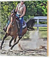 Lady Riding Wood Print