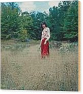 Lady Standing In Grass 2 Wood Print