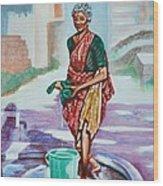 Lady Washing Clothes Wood Print