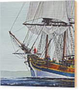 Lady Washington And Captain Gray Wood Print by James Williamson