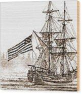 Lady Washington At Friendly Cove Sepia Wood Print