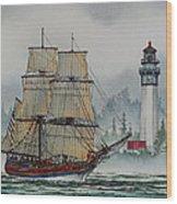Lady Washington At Grays Harbor Wood Print by James Williamson
