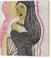 Lady With Fan Wood Print