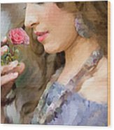 Lady With Pink Rose Wood Print