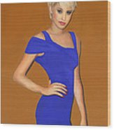 Lady With The Blue Dress Wood Print