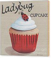 Ladybug Cupcake Wood Print