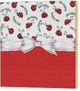 Ladybug Red And White  Wood Print