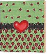 Ladybugs Hearts Desires  Wood Print
