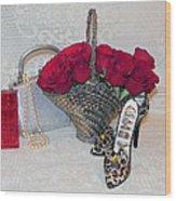 Purse Red Roses Jewelry Diamonds Wood Print