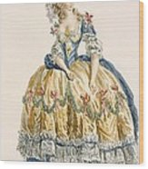 Ladys Elaborate Ball Gown, Engraved Wood Print