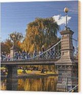 Lagoon Bridge In Autumn Wood Print by Joann Vitali