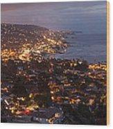 Laguna Beach City At Night Wood Print
