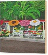 Laguna Beach Flower Stand Wood Print