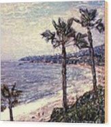 Laguna Beach Palm Vista Wood Print
