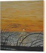Laguna Madre Sunset Wood Print