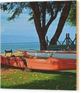 Lahina Maui Canoe Club Wood Print