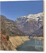 Lake And Snow-capped Mountain Wood Print