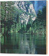 Lake And Trees, California Wood Print