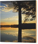 Lake At Sunrise Wood Print