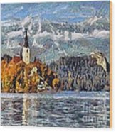 Lake Bled And Mountains Wood Print