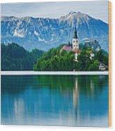 Lake Bled Island Church Wood Print